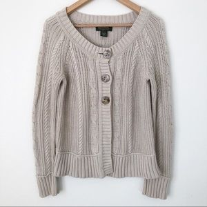 Eddie Bauer Cream Cable Knit Button Up Cardigan